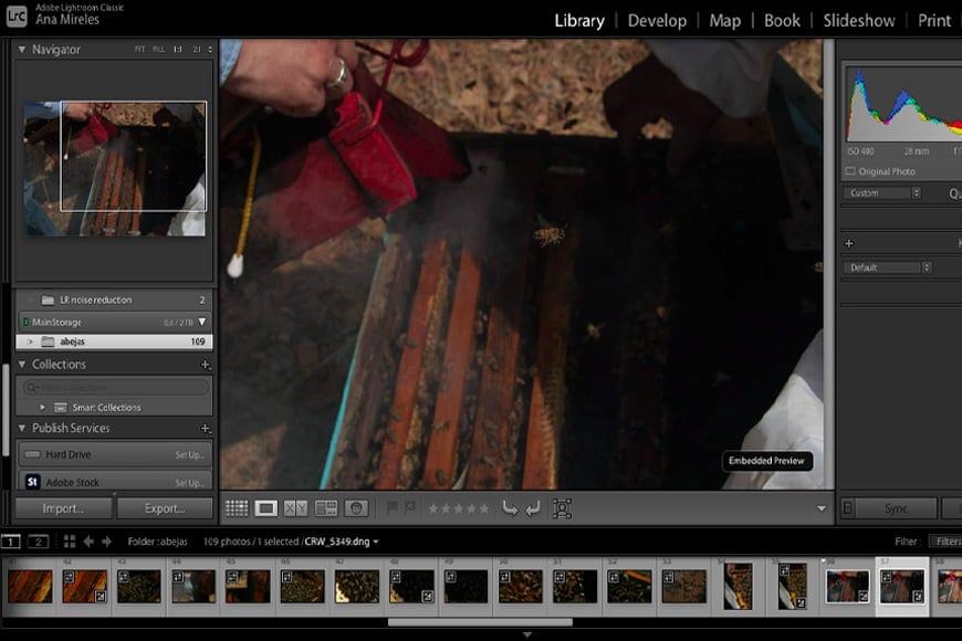 Photoshop noise reduction is one method, but Lightroom noise reduction gives more control. Open the develop module in Lightroom to start.