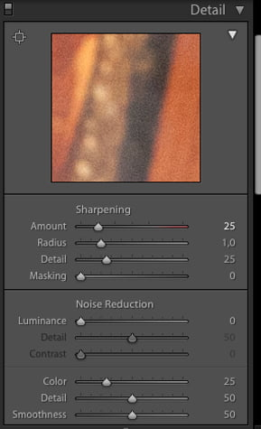 To remove noise in Lightroom open the detail panel. From here you can adjust the color noise reduction slider, detail slider, luminance slider and other slider controls.