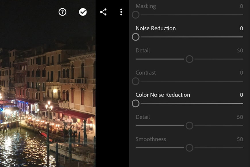 Noise reduction in Lightroom mobile can also help with reducing noise in your image. Use the slider for luminance noise or color noise reduction and check the detail on your image to see the results.