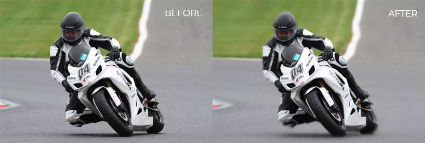 Before and after: radial blur effect. All rights reserved Richard Clark.