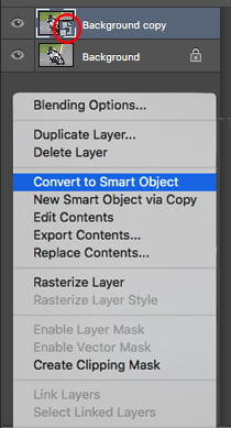 Convert to smart object to allow smart filter. This will show in the layers panel.