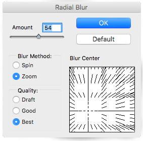 Adjust the blur amount value for your smart filter image effect.