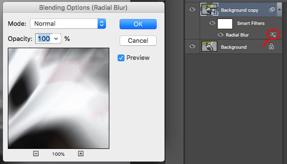 Adjust blending options by clicking in the layers panel under the smart filters.