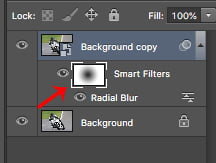 You can see the smart filter layer mask thumbnail in the layers panel.