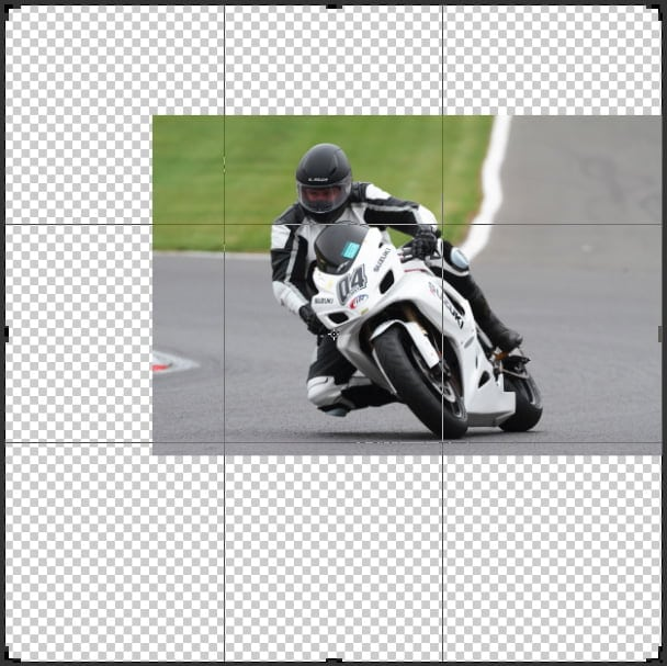 Enlarge the canvass around your image to adjust your smart filter effect of your radial blur method.