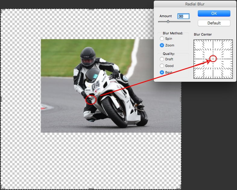 Photo editing blur amount value can be adjusted in the Radial Blur panel.