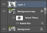 Improve your smart filter image effect by adding a mask to your radial blur as shown in the layers panel.