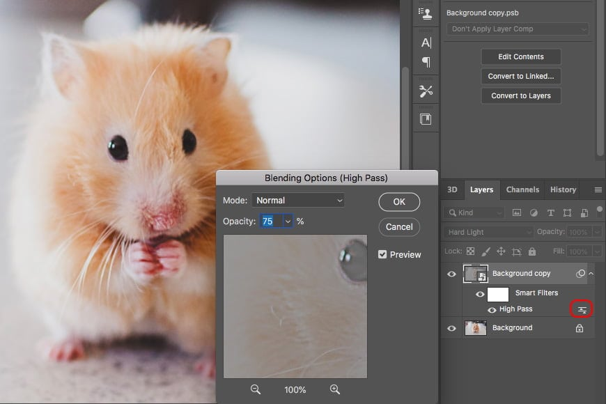 Use the sliders in the layers panel to change the opacity of your image with photoshop filter sharpen.