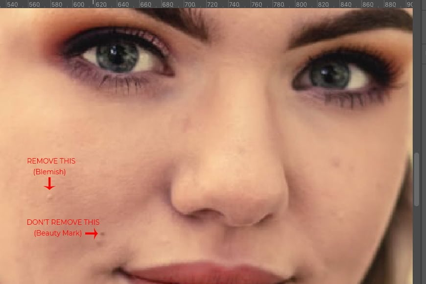 Step 2: In image retouching, it's important to remove skin blemishes in Photoshop only without losing skin texture.