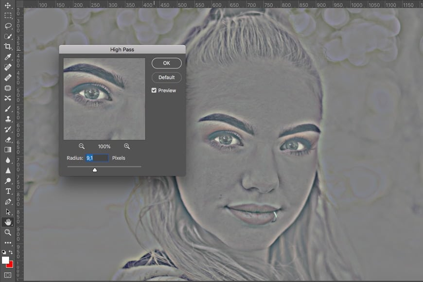 Smooth skin in photoshop tutorial: apply the high pass filter.