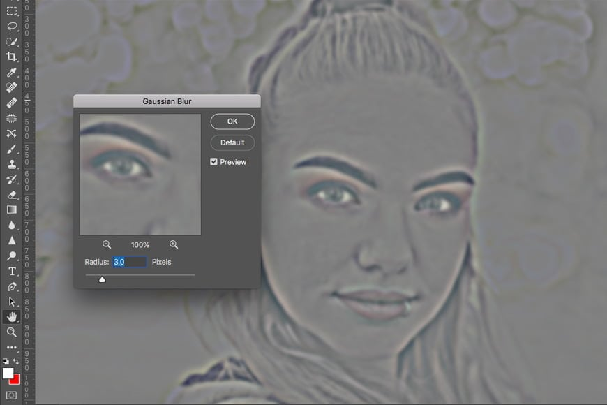Photoshop tutorial for smoothing skin: after applying high pass filter, you want to add a smoothing effect or softening effect, and guassian blur works best. Select Filter, Blur, Gaussian Blur.