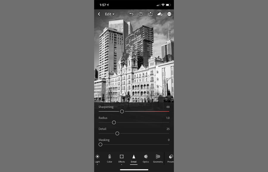 How to make a blurry picture clear app. Lightroom mobile has a smart interface.