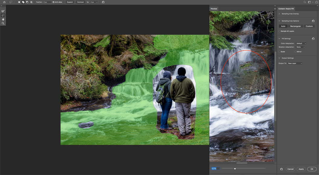 Photoshop allows you to use content aware fill to replace object.