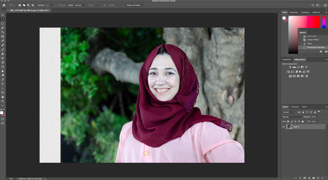 Photoshop tutorial on how to apply content aware fill to extend a background.