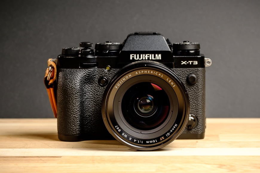 The Fujifilm XF 16mm f/1.4 front on