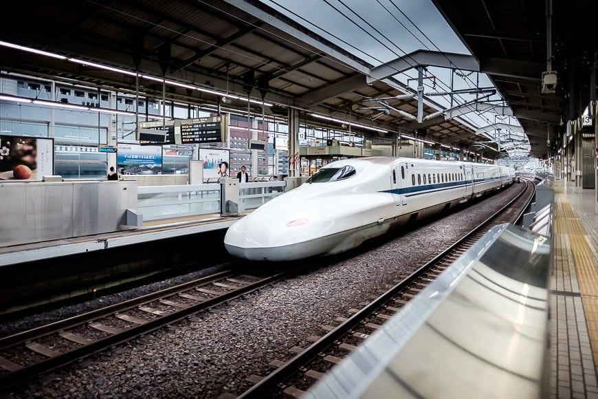 Japanese bullet train in focus Fujifilm XF 16mm f/1.4 | 1/2000ss | 1600 ISO | f/1.4