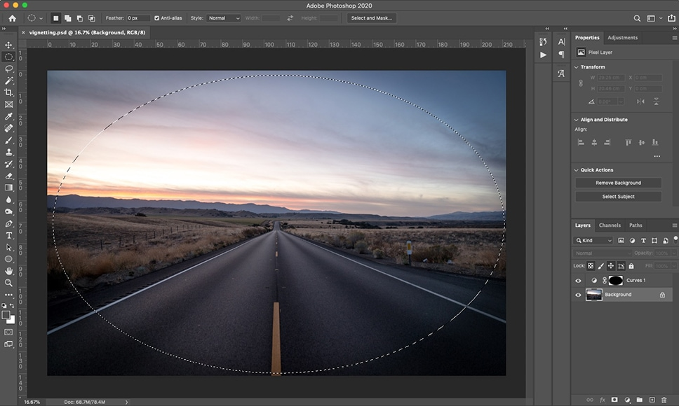 What is vignette? The vignetting meaning varies but can be eliminated in Photoshop.