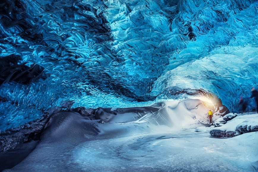 Glaciers create ice caves that are beautiful landscapes to capture on camera.