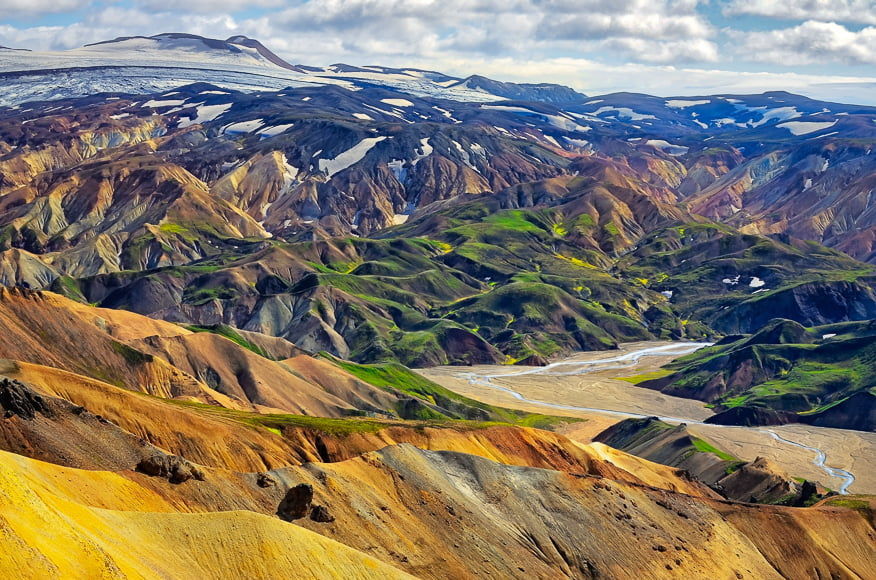 Landmannalaugar mountain range offers a very unique and strangely colourful landscape located in the Fjallabak Nature Reserve.