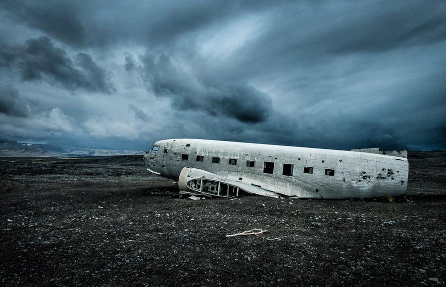 Unique landscapes to photograph include a desolate plane wreck.