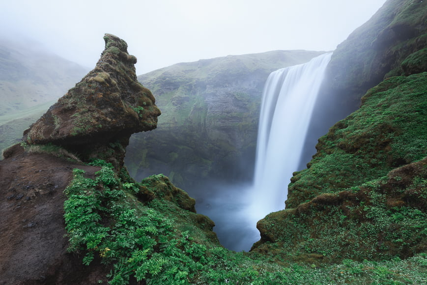 Famous Skogafoss waterfall on Skoga river located near the iconic Ring Road.