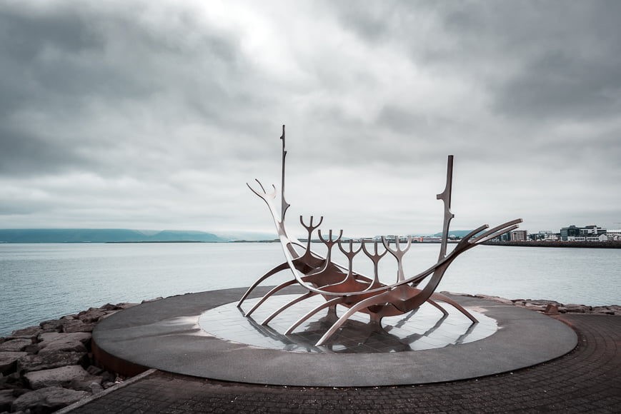 An Icelandic sculptor created the Sun Voyager.