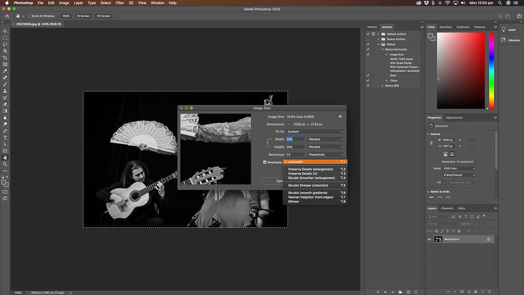 Change the photo quality of images using photoshop's upsampling algorithm to increase resolution and pixel dimensions.