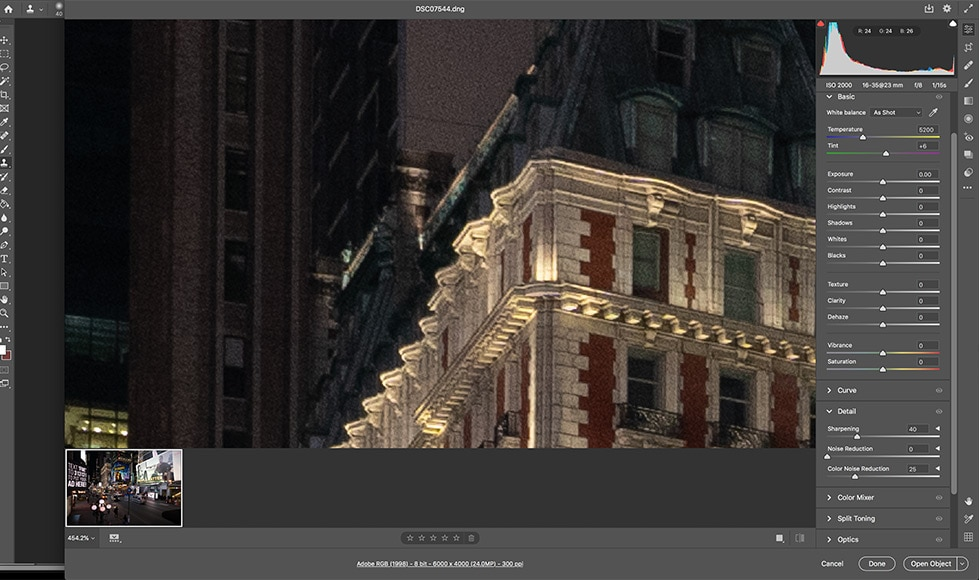 Use Camera Raw if you need to reduce noise. It may not be free, but it's one of the best noise reduction software programs you can use.