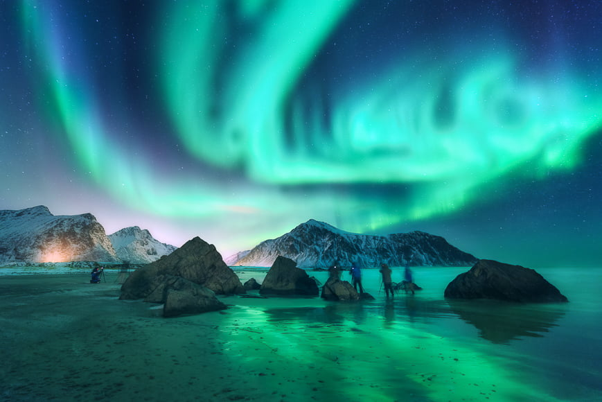 Picture northern lights – With clear skies, you can photograph the northern lights successfully.