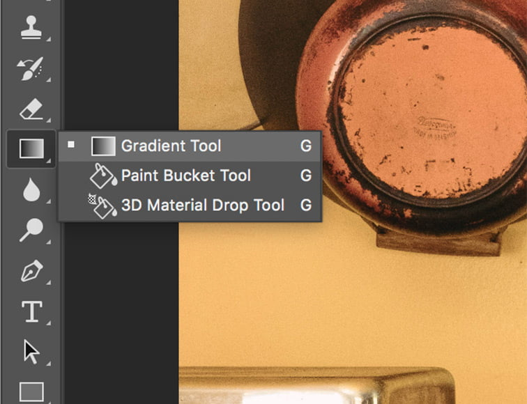 On your layer select the gradient icon from the gradient bar.