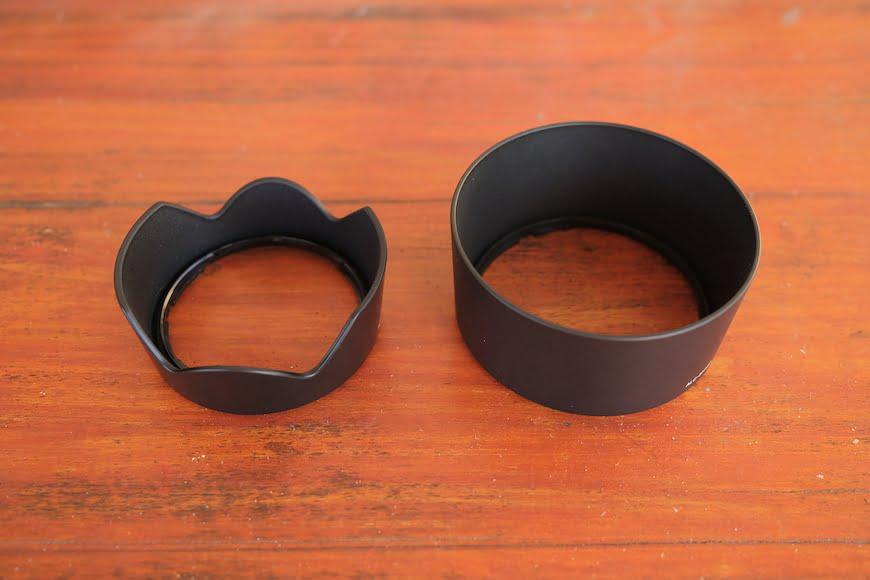Petal lens hood and cylindrical hood lens protector.