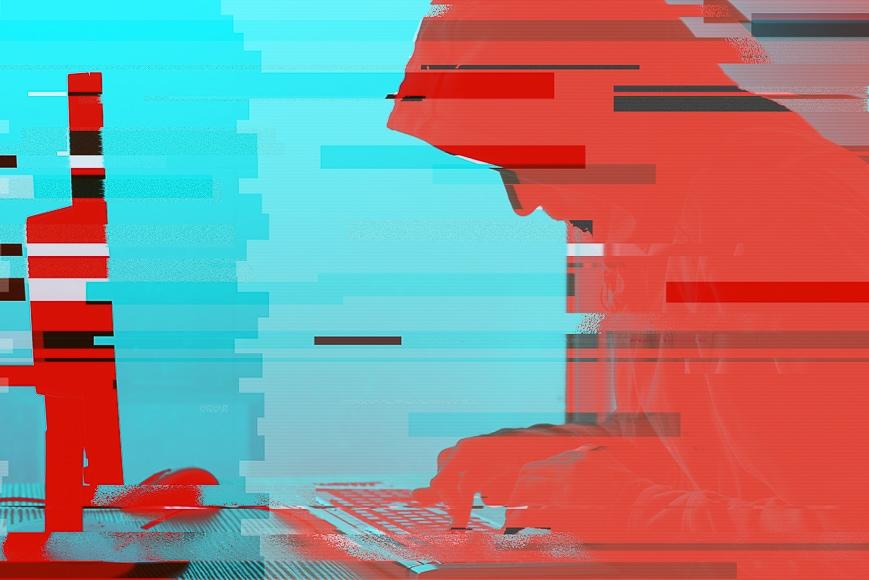 Glitch art imagery.