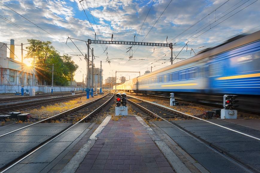Motion shot of a train.