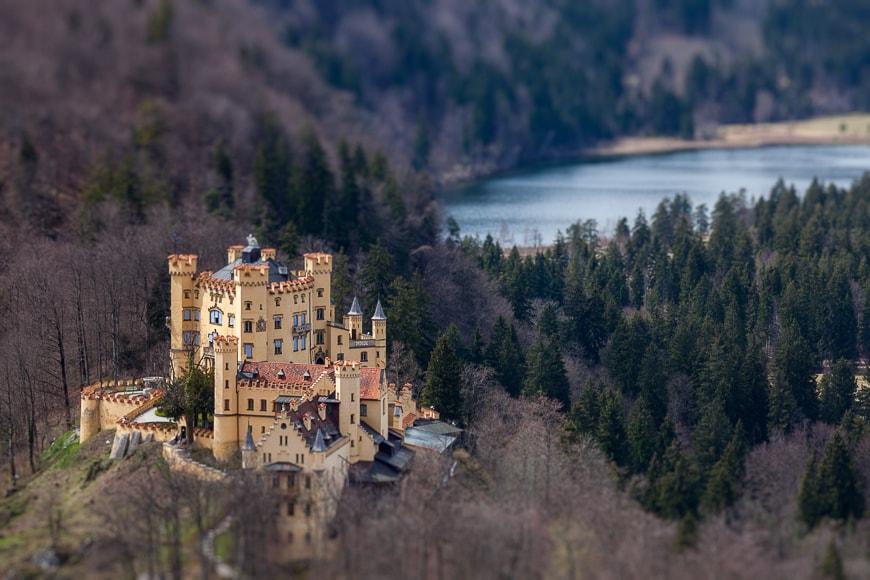 Tilt shift image of a castle.