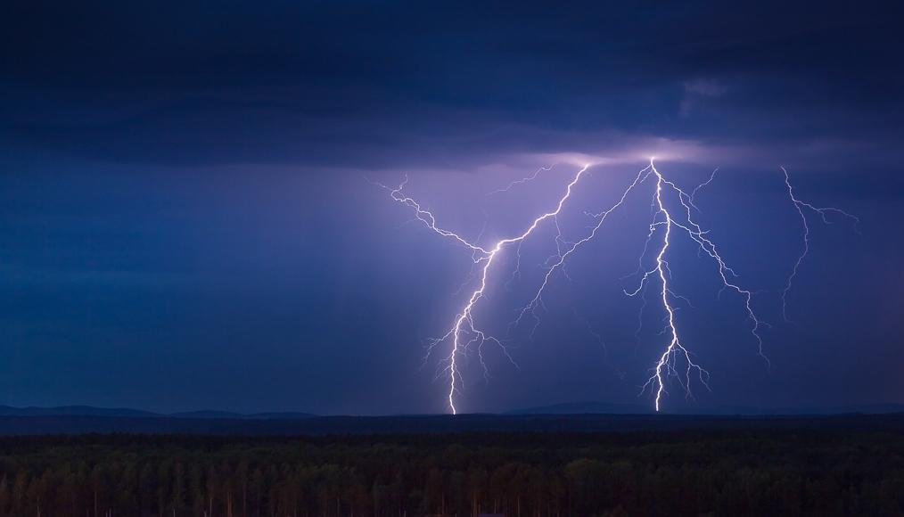 Lightning in the sky.