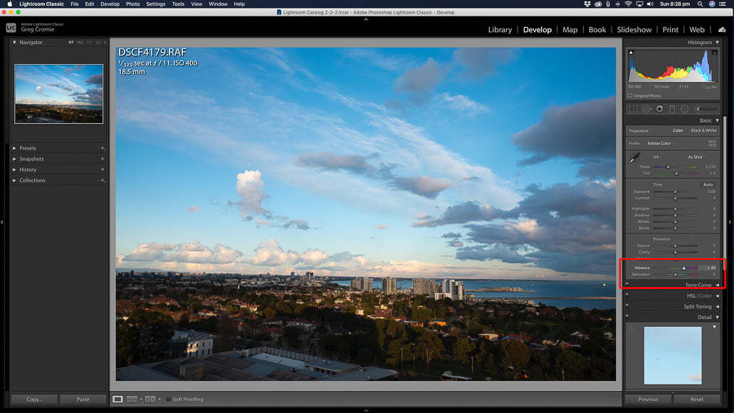 Where to find the vibrance slider and saturation slider in Lightroom.