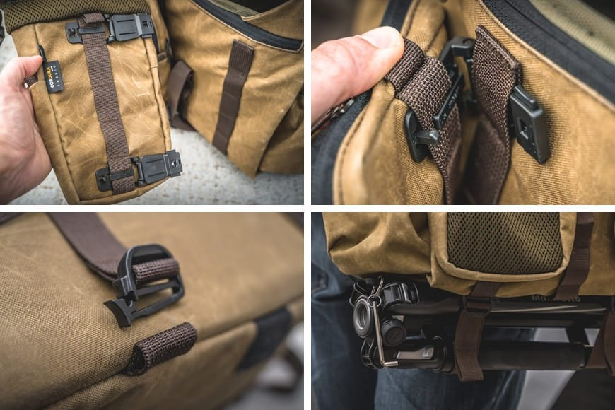 Featuring MOLLE straps the modular attachments clip to the front of the Pilot, while larger bulkier loads can be attached to the base using the detachable cargo straps.