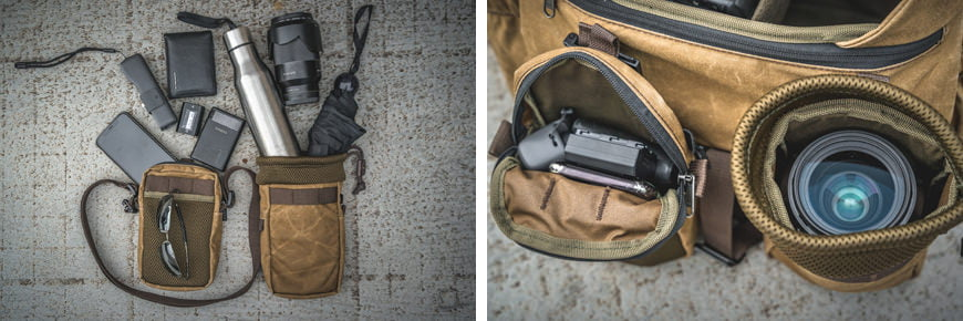 Just an example of what can fit in to the Front Accessory Pouch, but the multiple example uses of the Front Water Bottle Pouch.