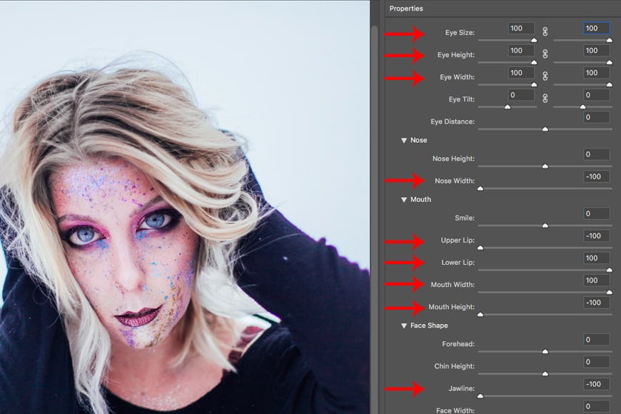 Face-aware Photoshop liquify has various options you can use for altering an image.