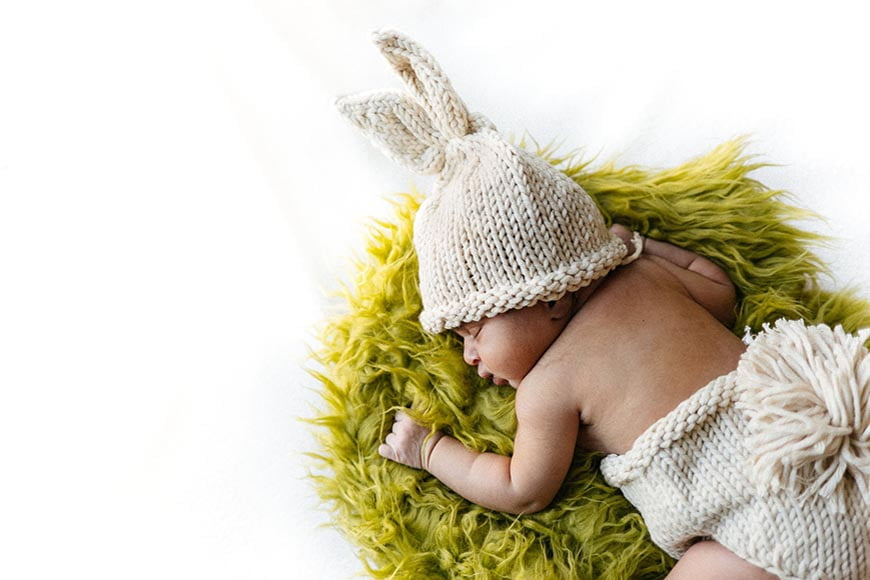 Costumed baby photos are a great use of newborn photography props.