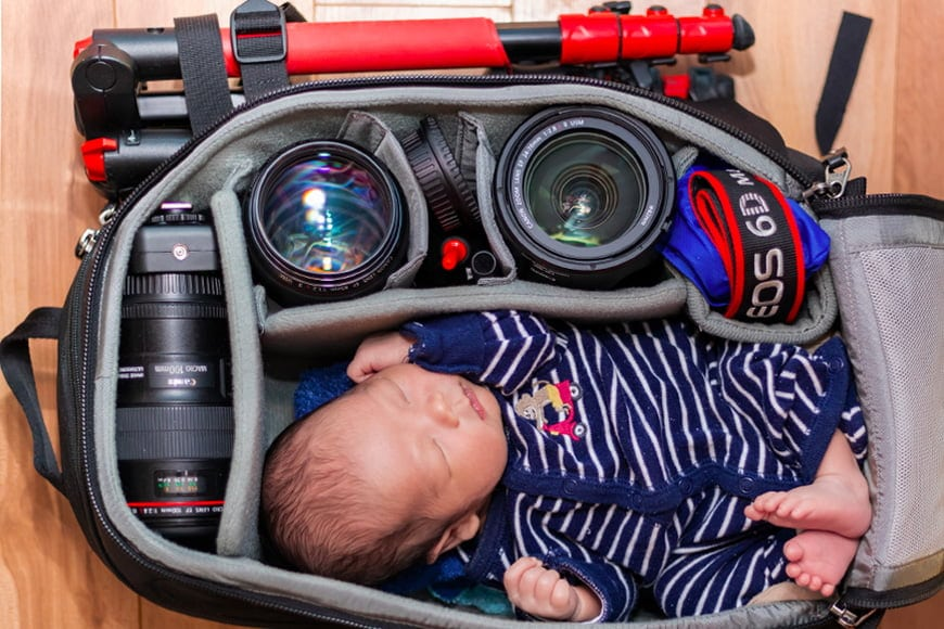 Keep your gear bag stocked with the essentials when shooting baby photography photos.