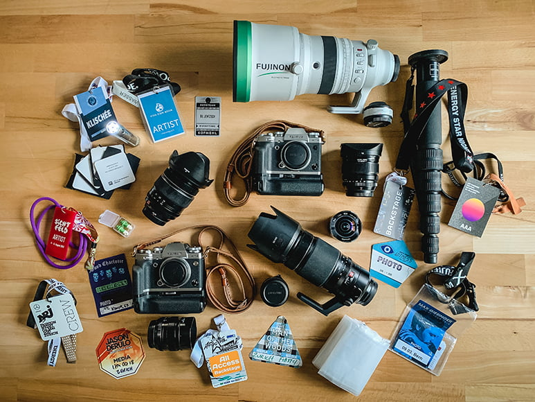 variety of gear for portraits at events