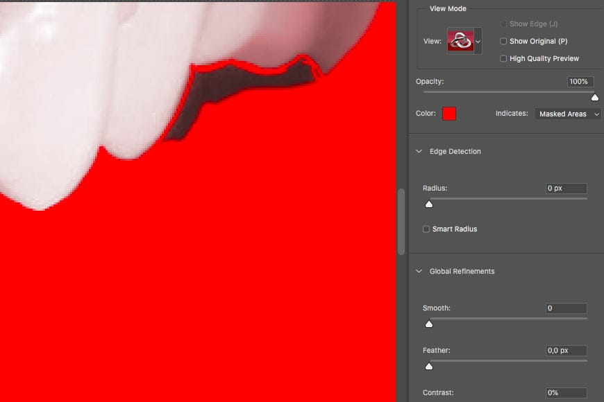 How to whiten teeth in Photoshop - select the area.