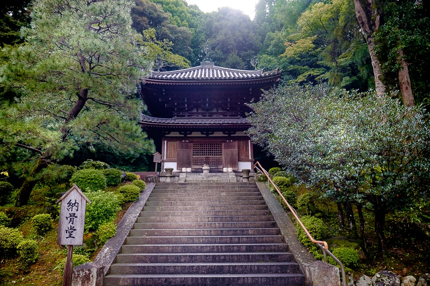 Stairs leading to a Japanese temple