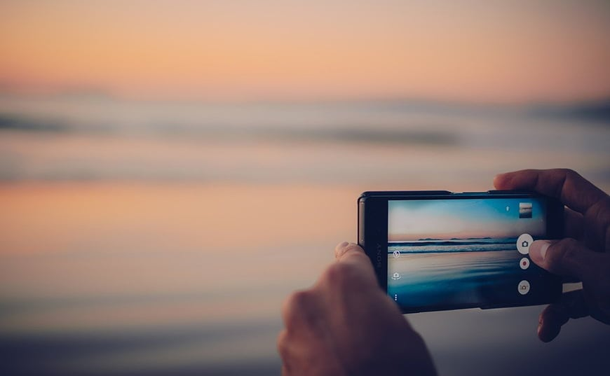 Smartphone for photographing beach.