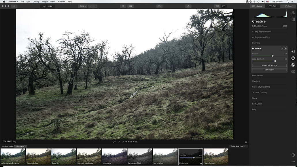 landscape photos on macbook air in Luminar