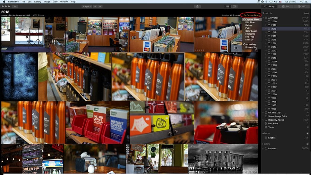 image selection in luminar