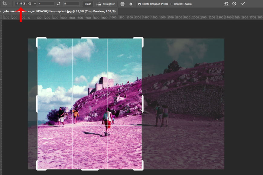 Another way to change orientation of an image in Photoshop is to crop your photo.