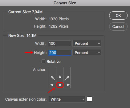 The photoshop Canvas Size dialog box lets you define width and height. Click OK.