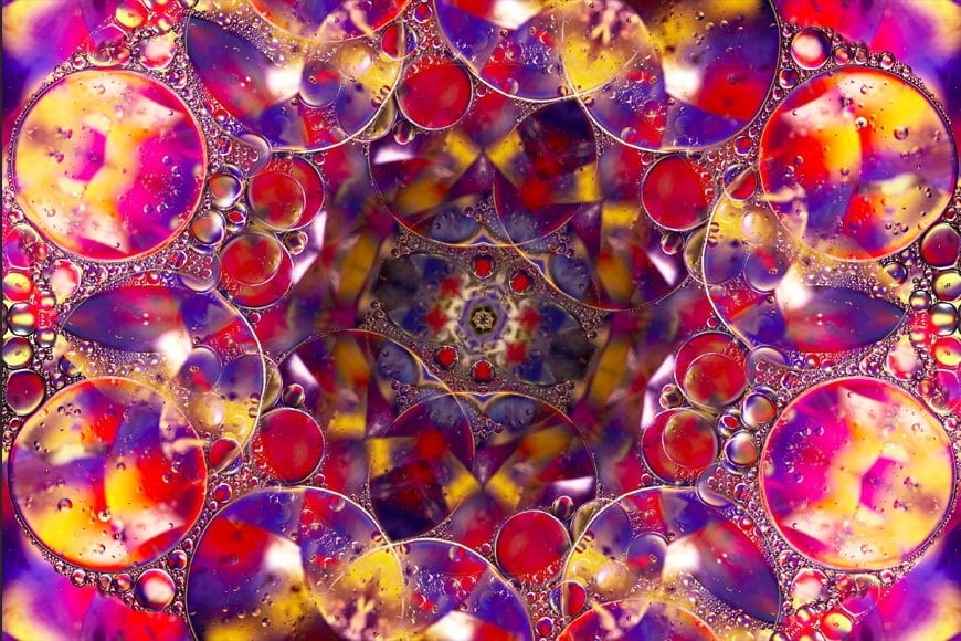 Finished abstract art using Photoshop flip and rotate tools.